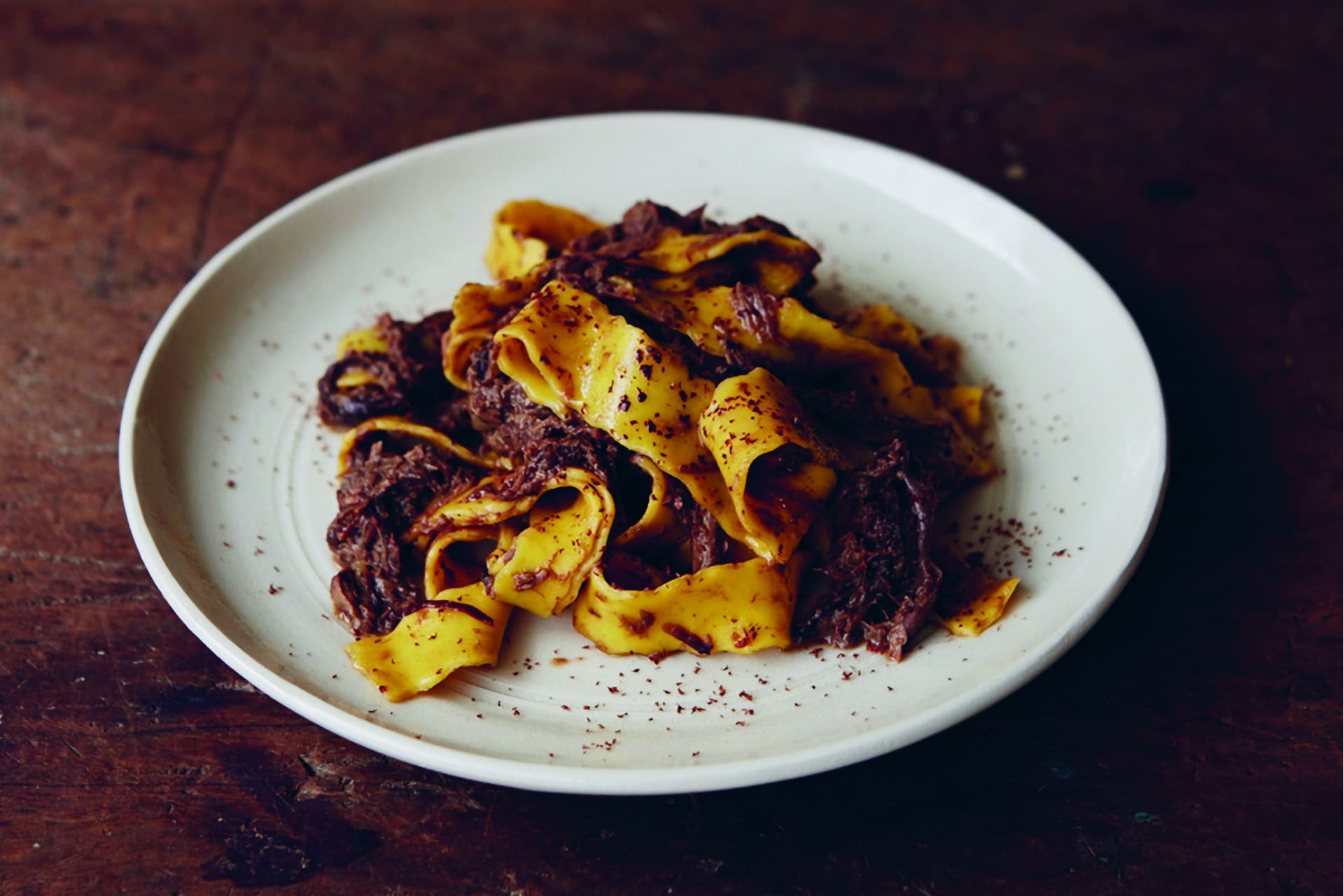 Giorgio Locatelli pappardelle with hare red wine and cacao