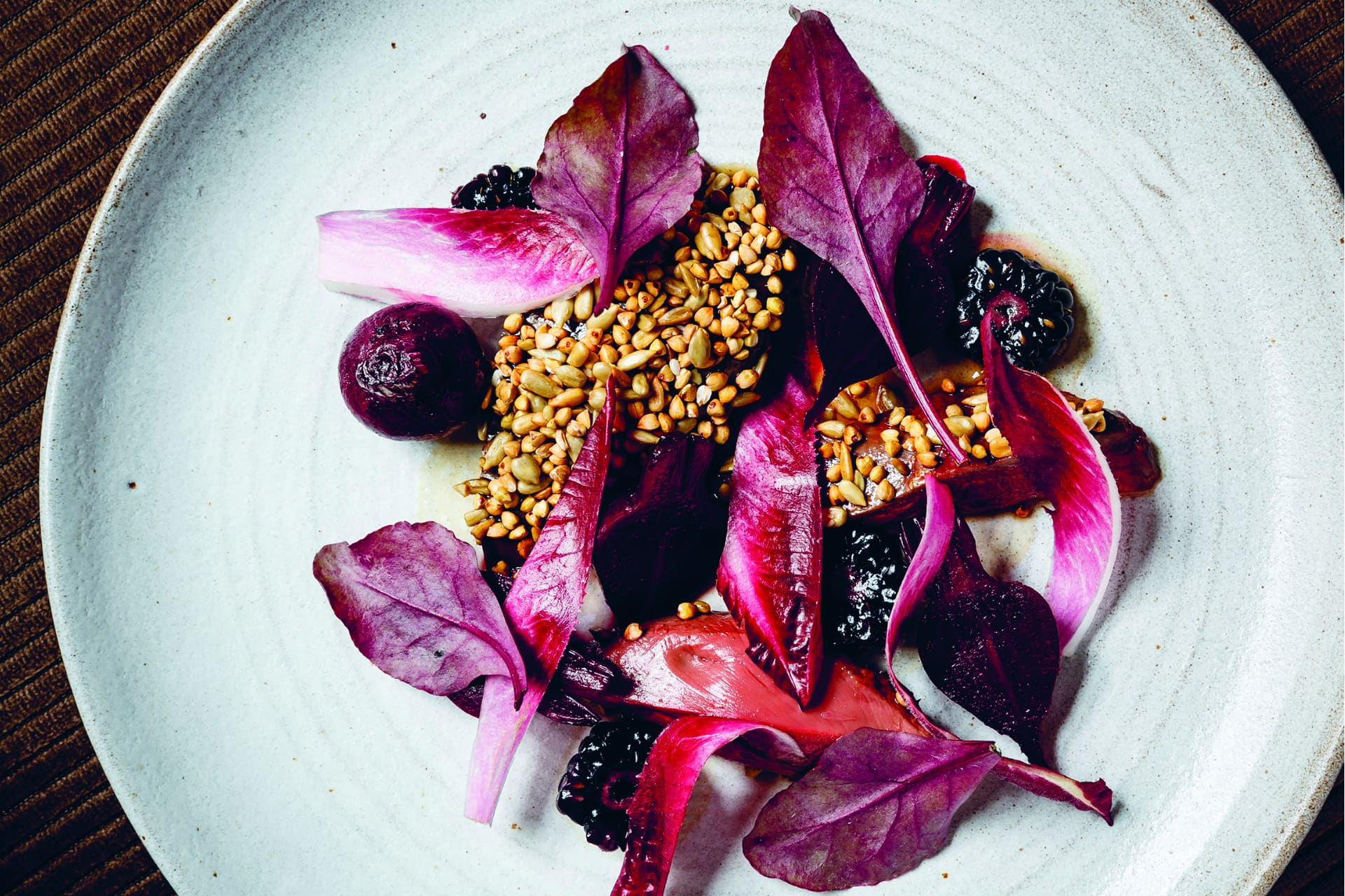 Wood pigeon beetroot red chicory blackberries and buckwheat