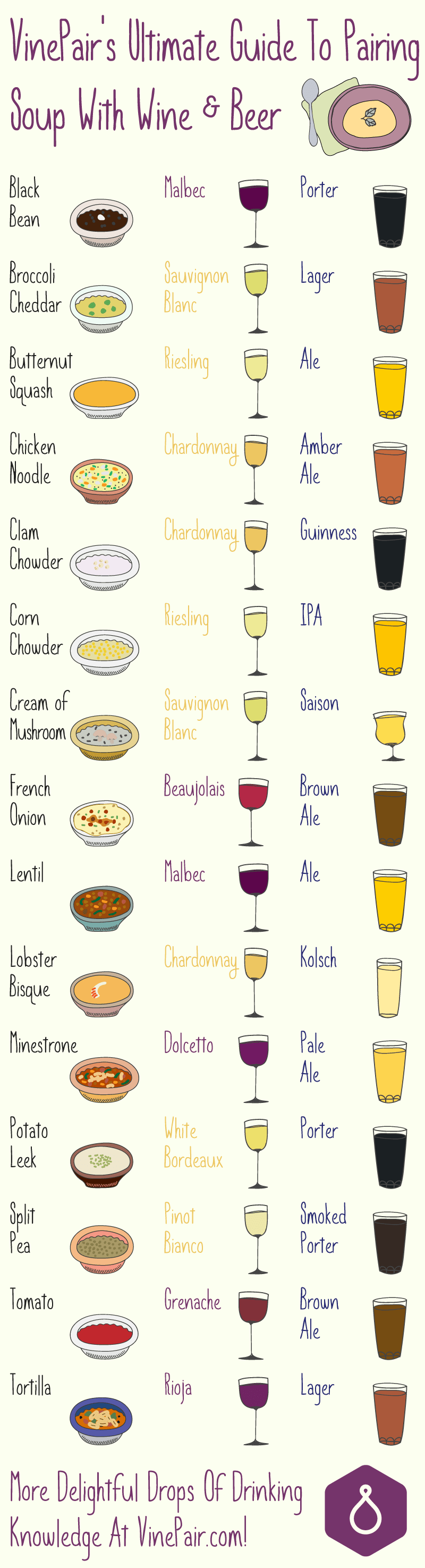 soup beer wine pairing guide infographic