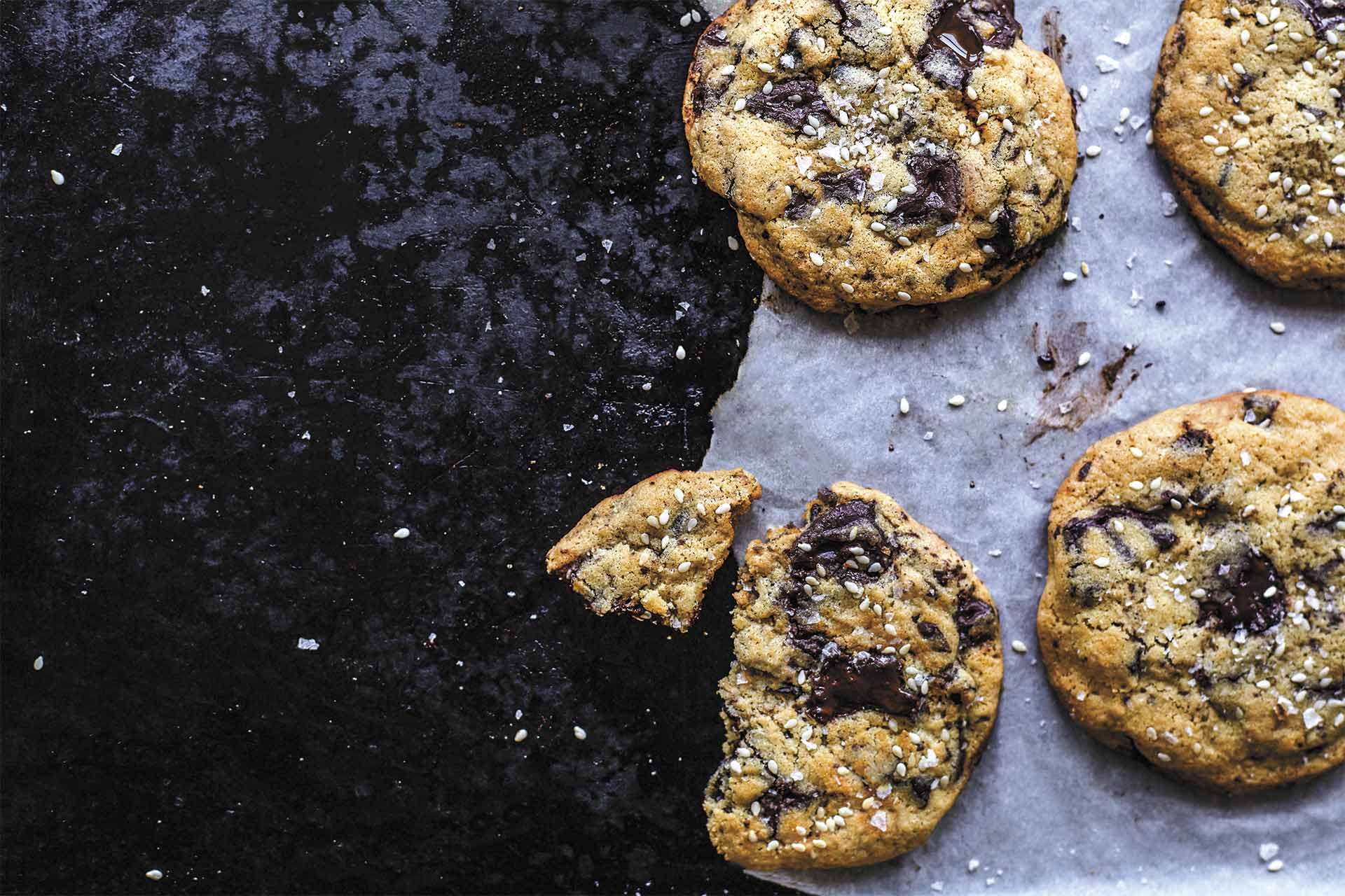 Tahini Choc Chip Cookies by Kathy Gunst