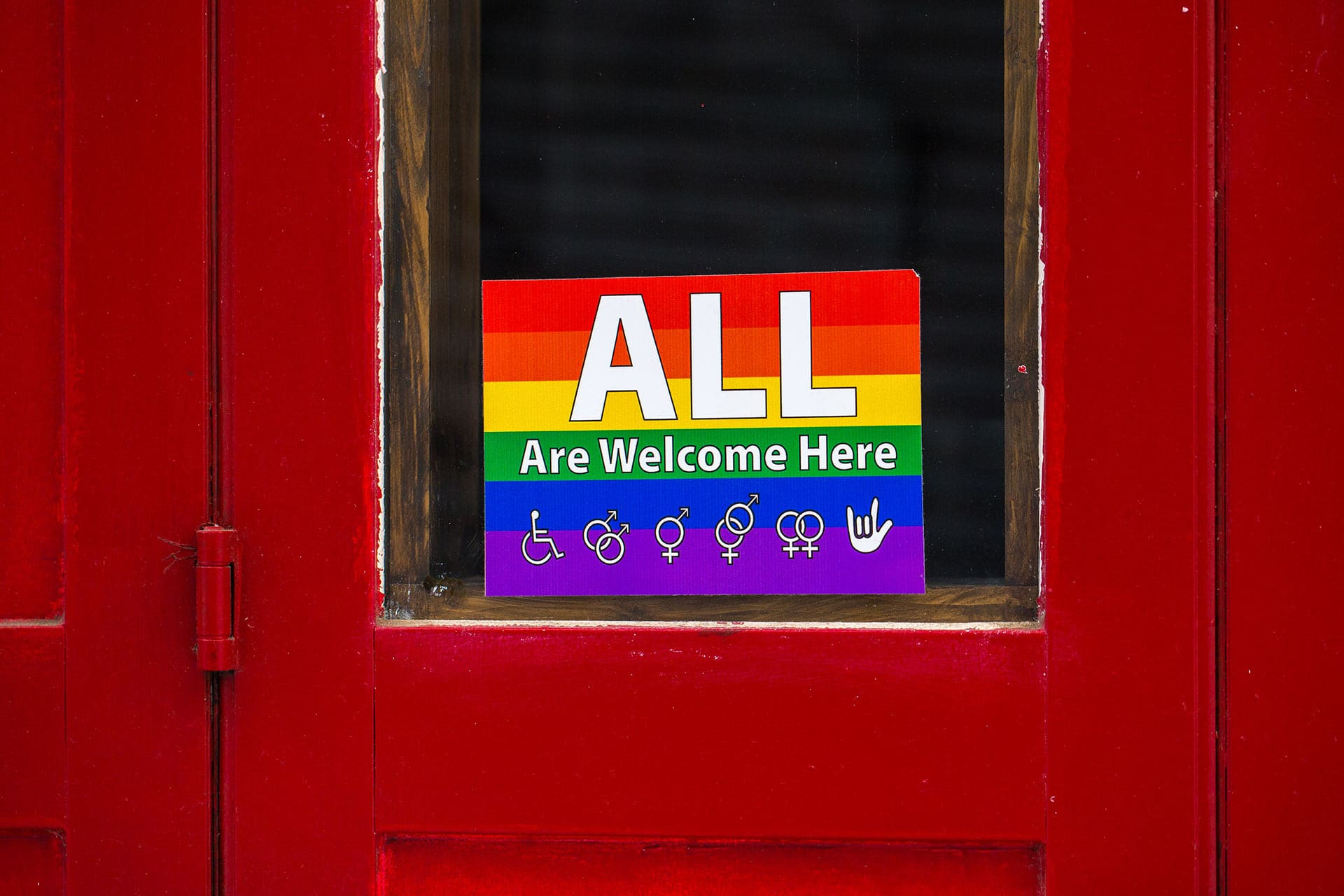 all welcome here sign