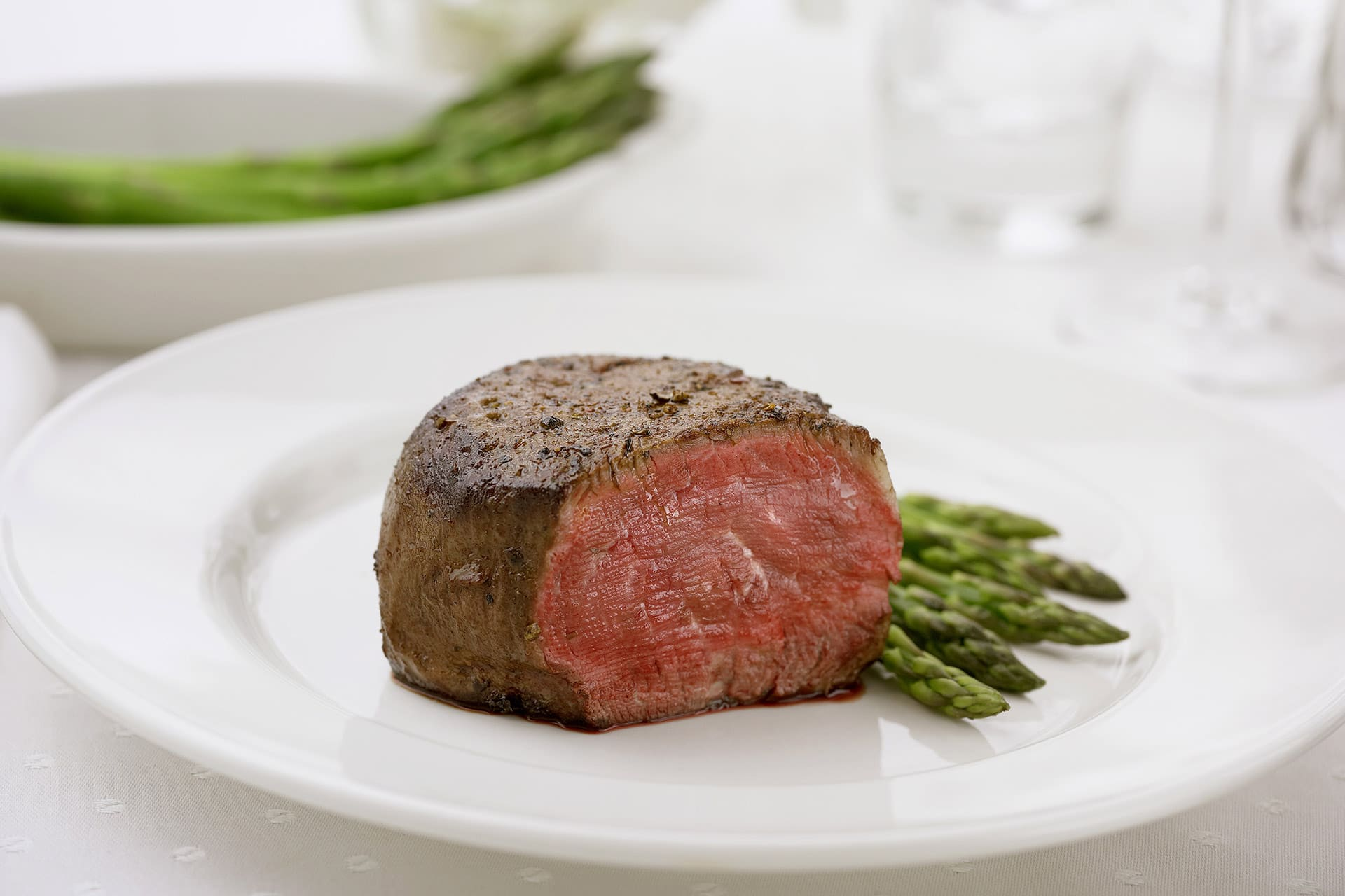 A Piece of Filet Mignon with Asparagus ©Stockfood