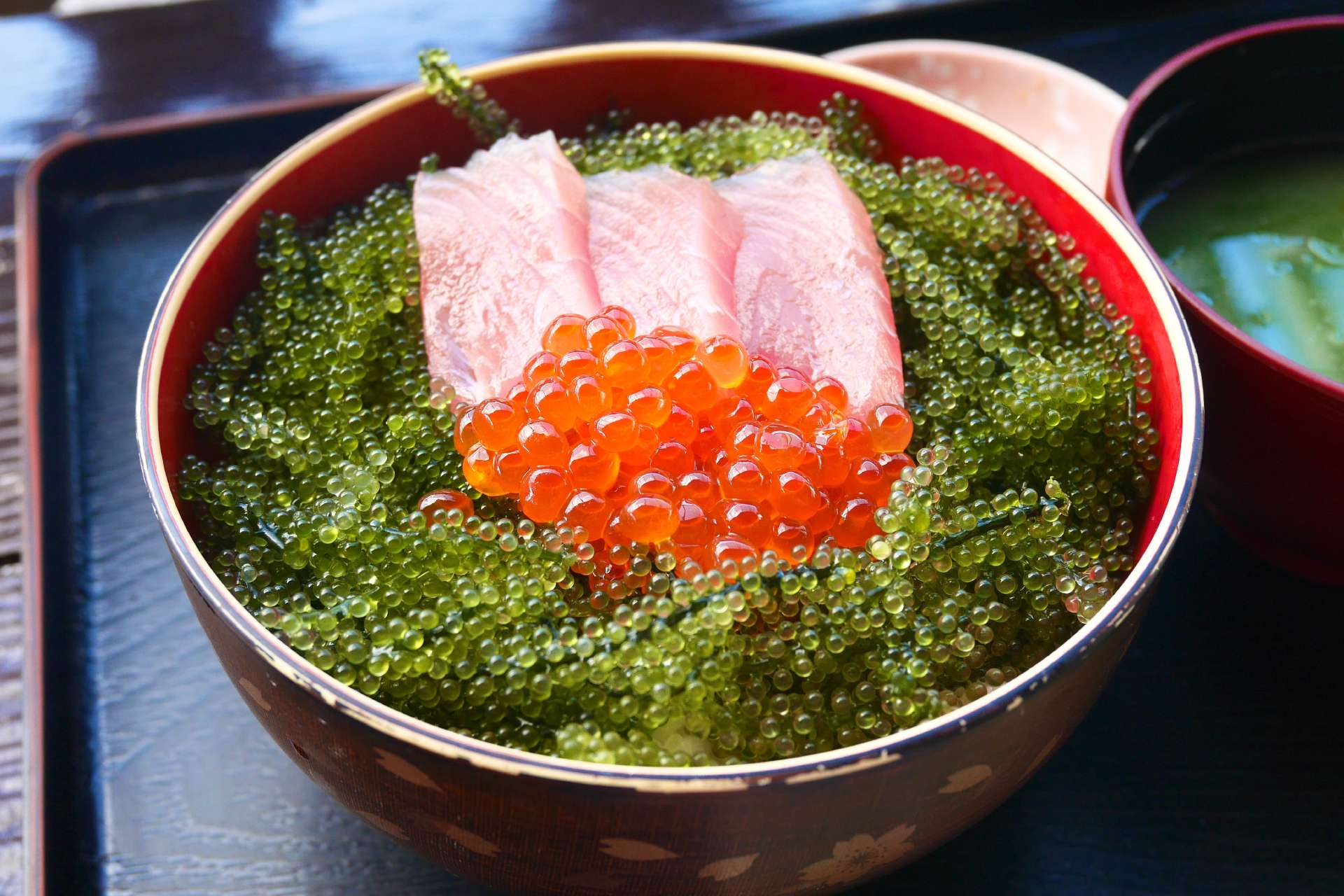 fish bowl with tobiko