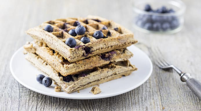 Gluten Free Coconut Flour Waffles With Blueberries