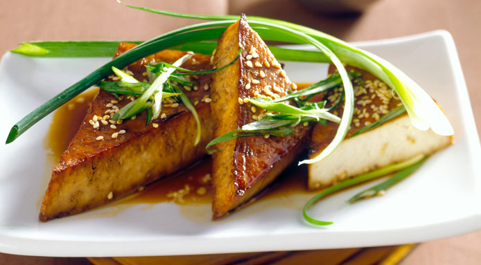 Fried Tofu With Sesame Seeds And Spring Onions