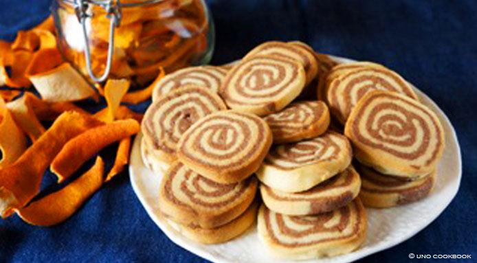 Pinwheel cookies with orange zest and cocoa Christmas cookies