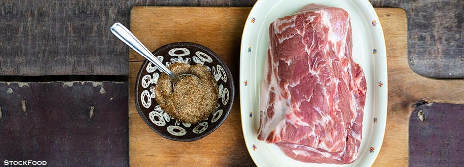 Raw Pork Collar and Rub for Pulled Pork