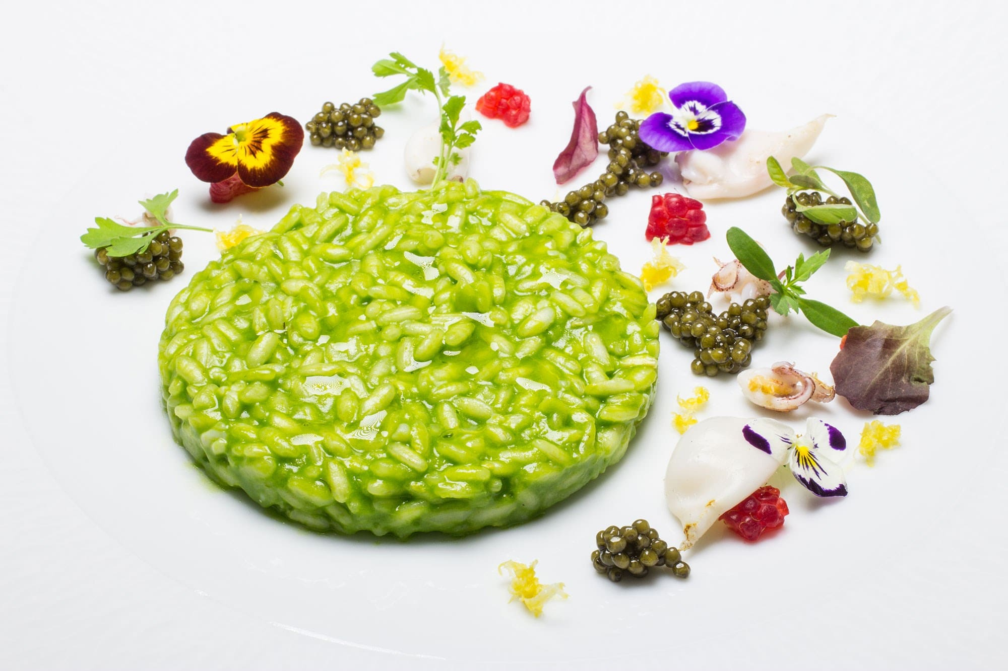 Annie Féolde | Basil and lemon risotto, with calamars and caviar