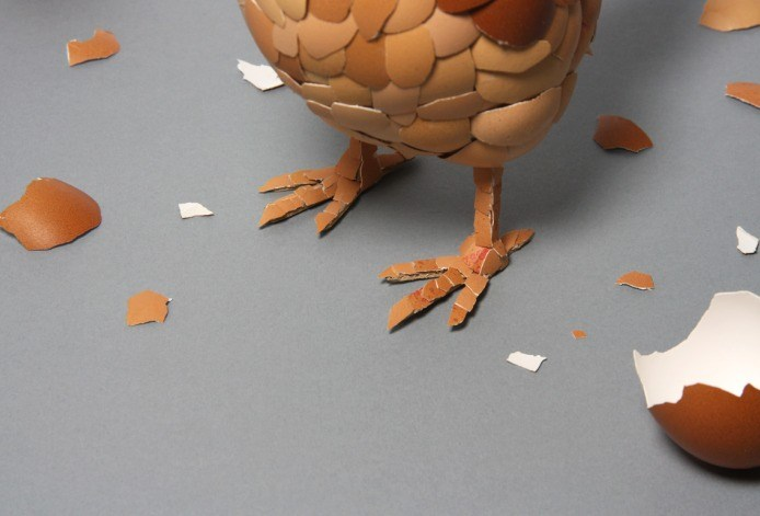Chicken Sculpture Made With Eggs