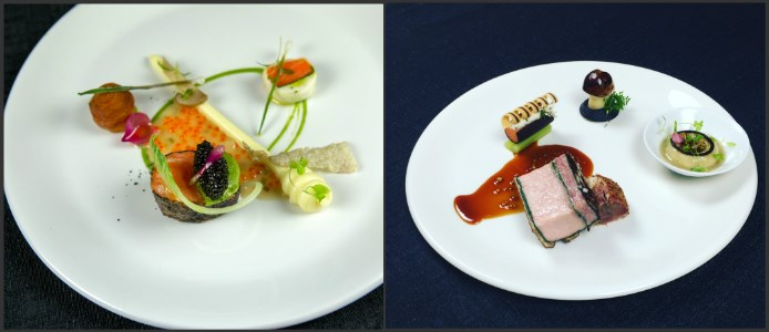Chef M.Peters_Fish Presentation (Left), Meat Presentation (Right)