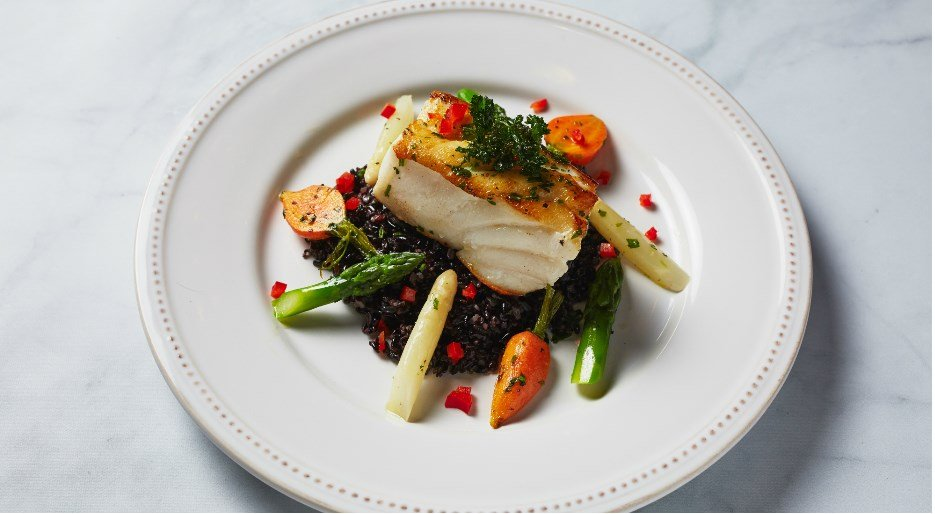 Golden Globes Entree  Chilean Seabass with Forbidden Black Rice and Globe Carrots
