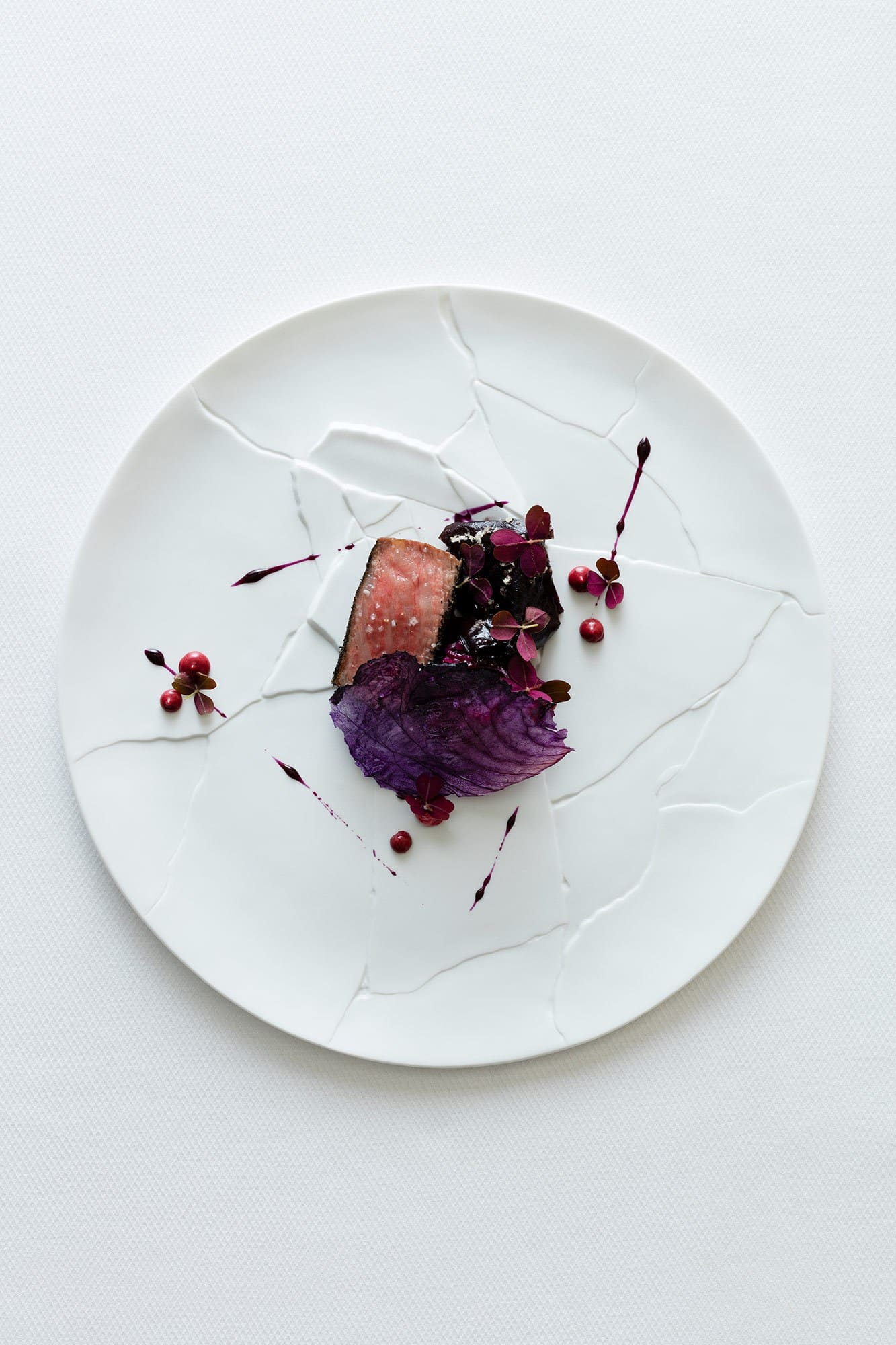Richard Ekkebus: Miyazaki wagyu beef, strip loin, barbecued with dulse & red cabbage slaw, oxalis, horseradish & pepper berry emulsion