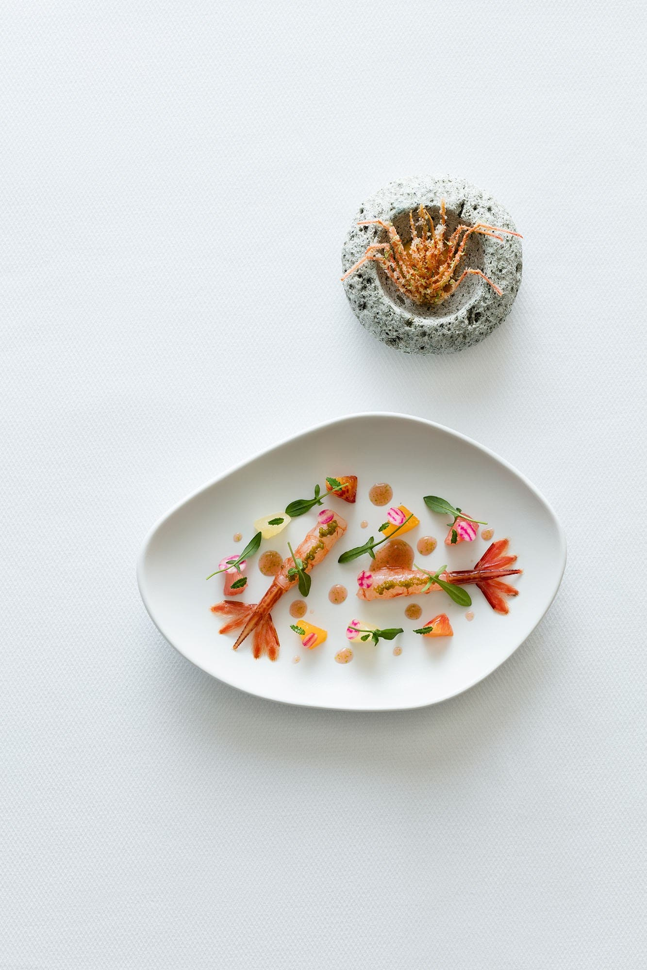 Richard Ekkebus: Shimaebi prawn tail raw, marinated with citrus & beetroot, crispy fried head with calamansi emulsion