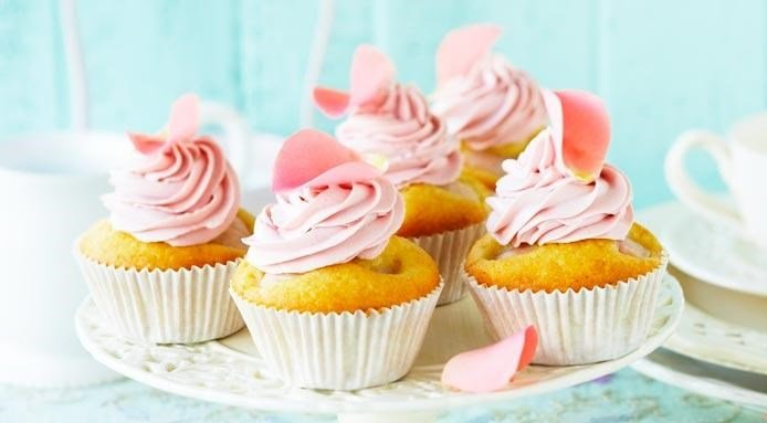 Rose and Lychee Cupcakes