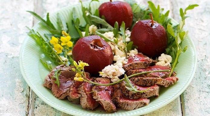 Steak with Poached Apples
