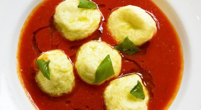 Tomato Soup with Goat Cheese Gnudi