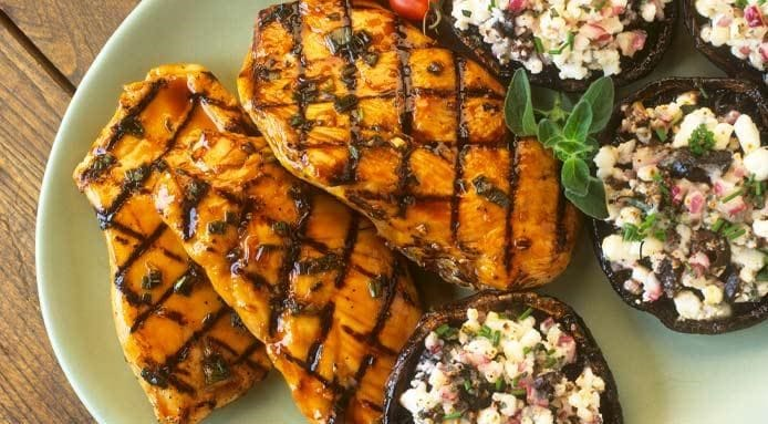 Turkey Breasts with Stuffed Mushrooms