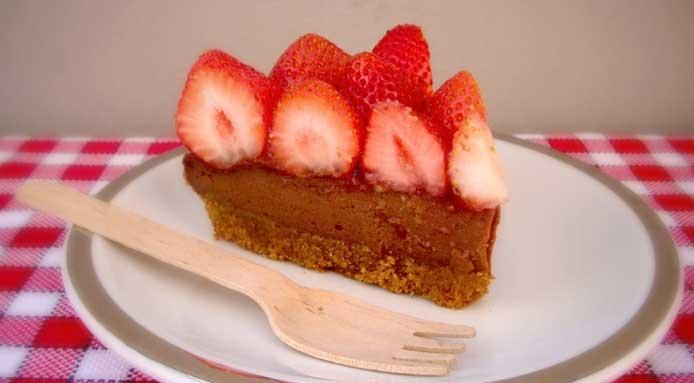 Tofu Cake with Strawberries