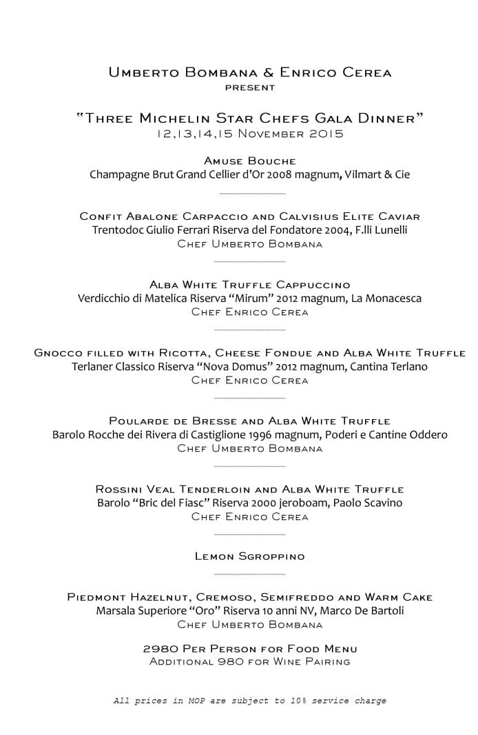 White Truffle Event Menu