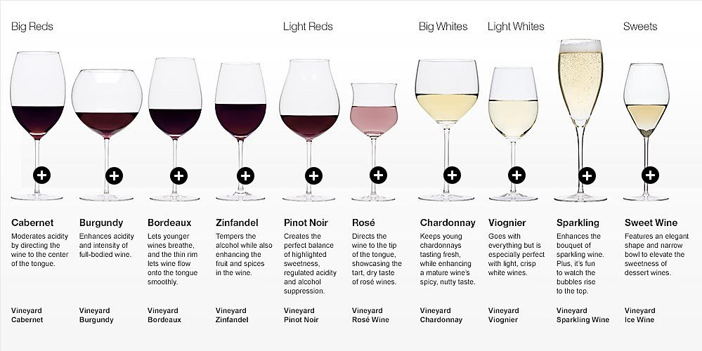 wine glasses of all types