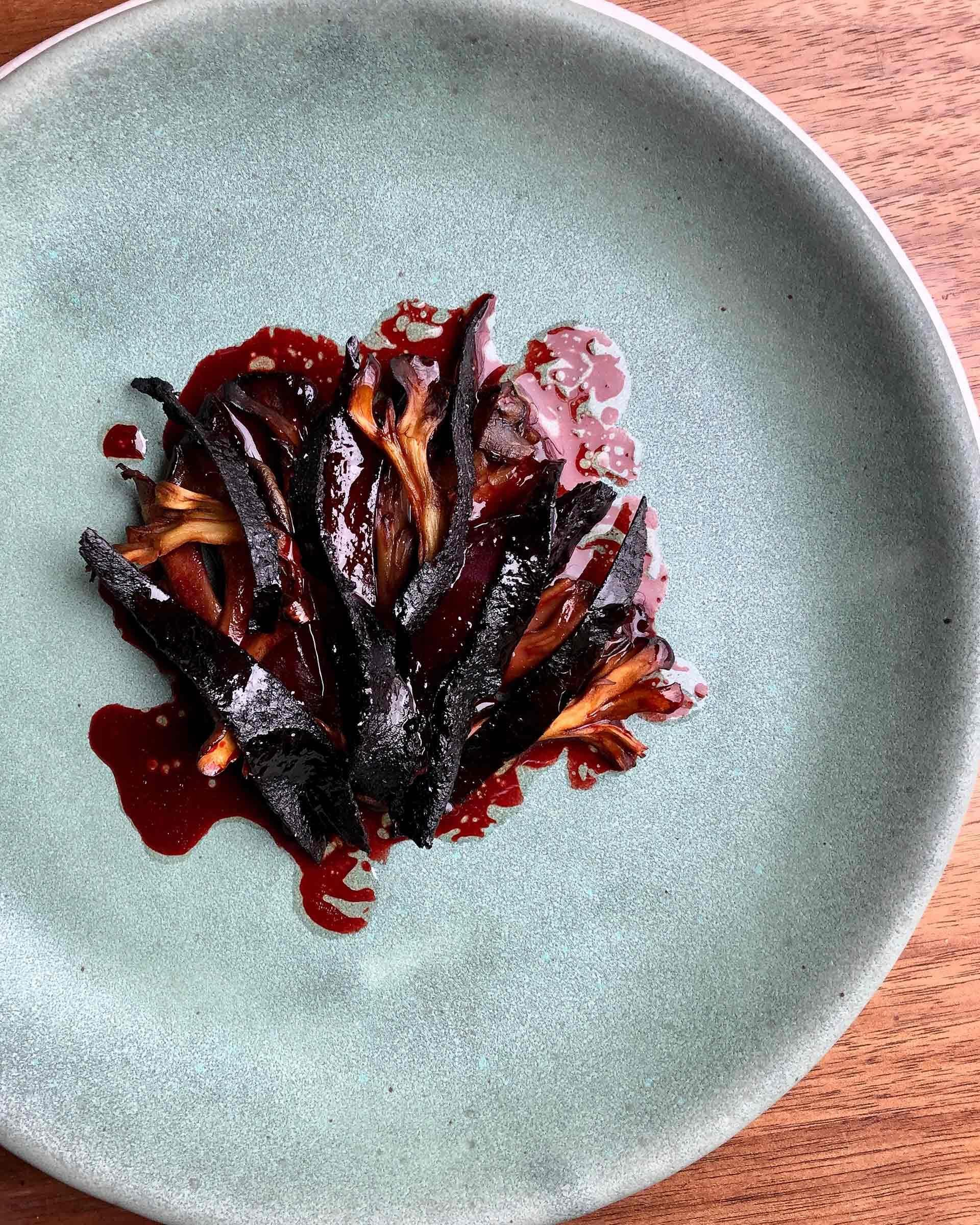 Smoked and Dried Beets with Maitake and Black Garlic