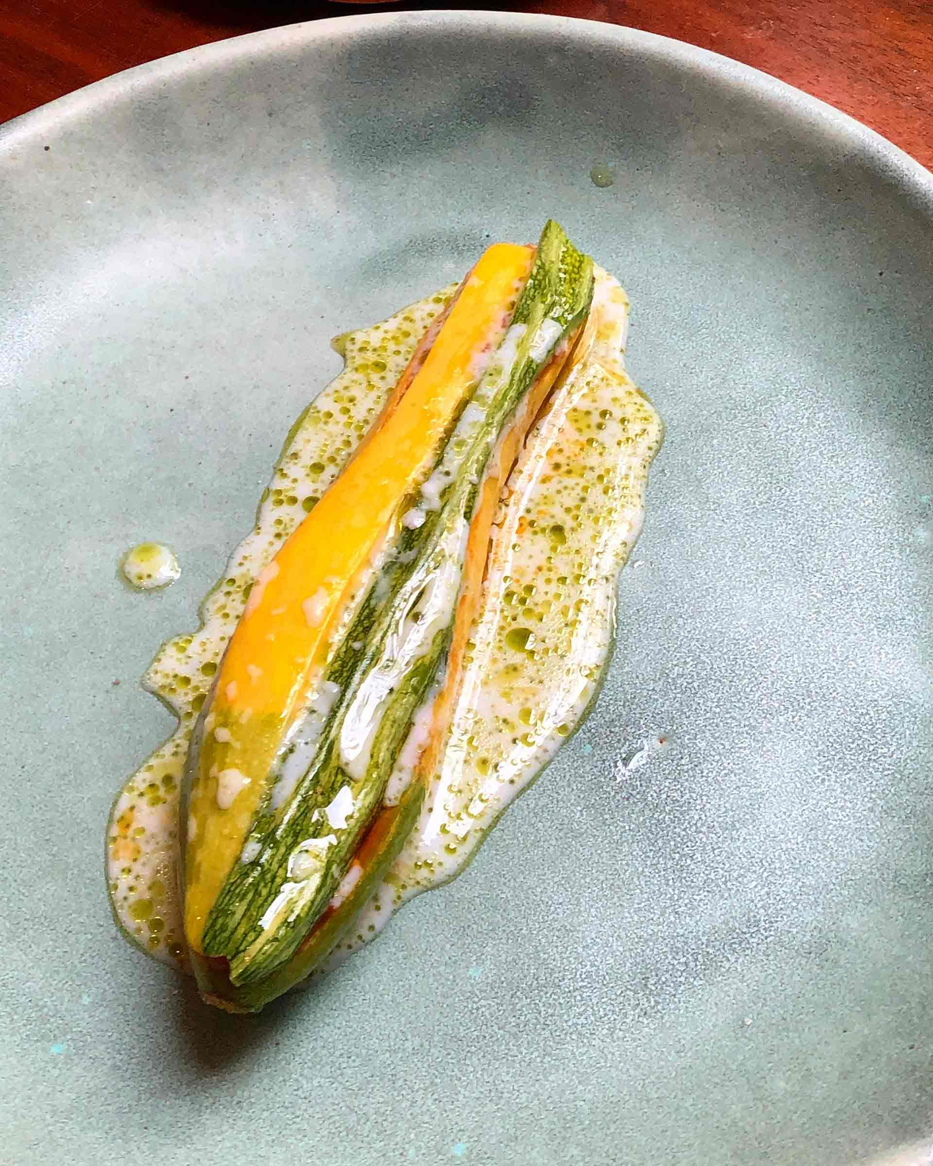 Summer Squash with Nduja and Salted Rhubarb