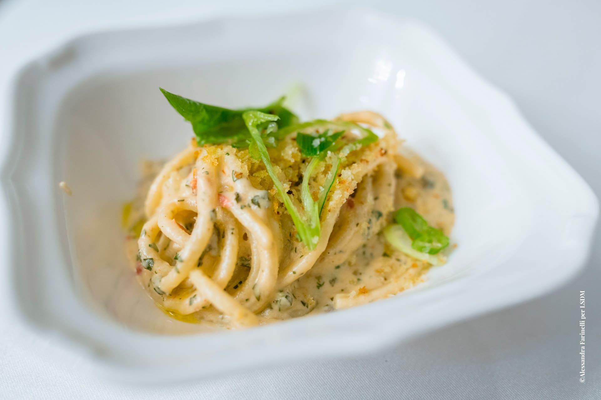 Chef Riccardo Orfino: Bucatini, cashew-kombu cream, Mediterranean pesto, Sorrento lemons, bread crumbs