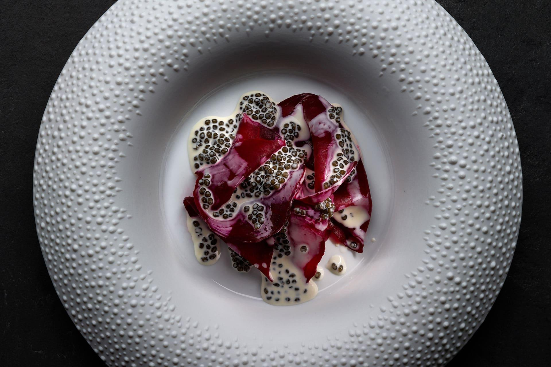 Beetroot caviar by Mauro Colagreco