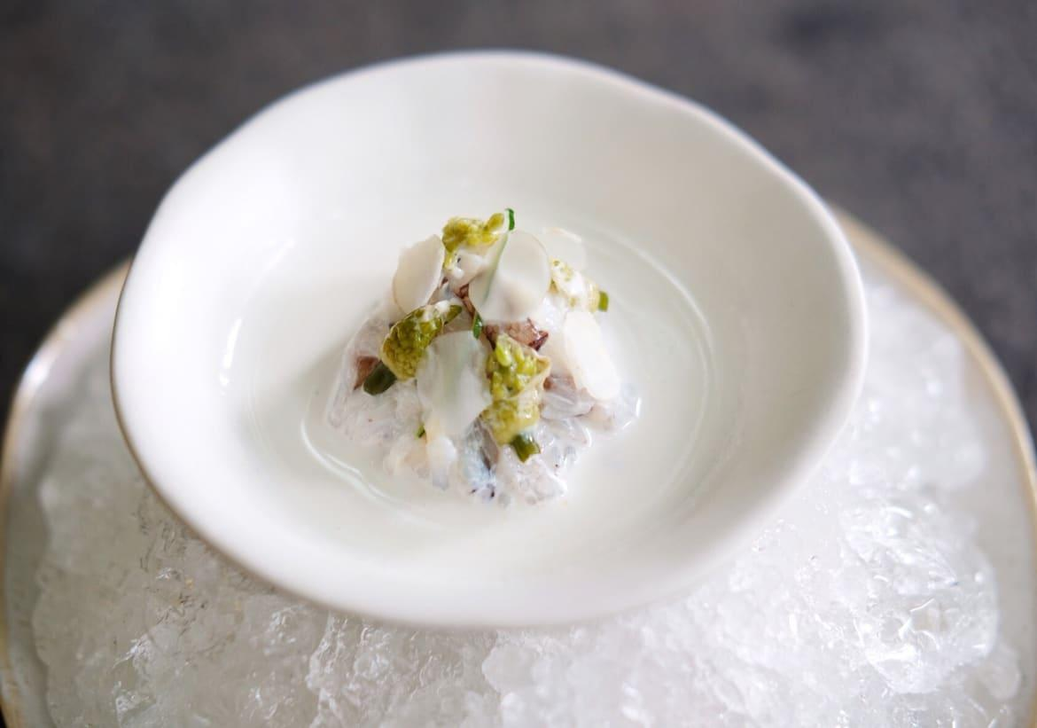 Blue Swimmer Crab Long Peppercorn and Macadamia Milk