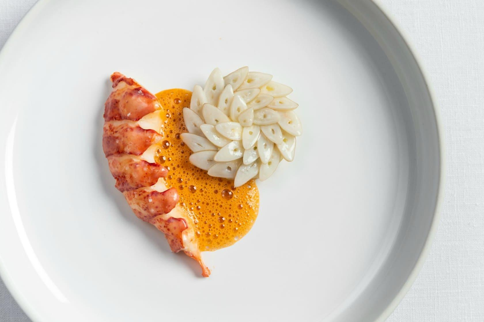 Lobster with razor clam and sea urchin