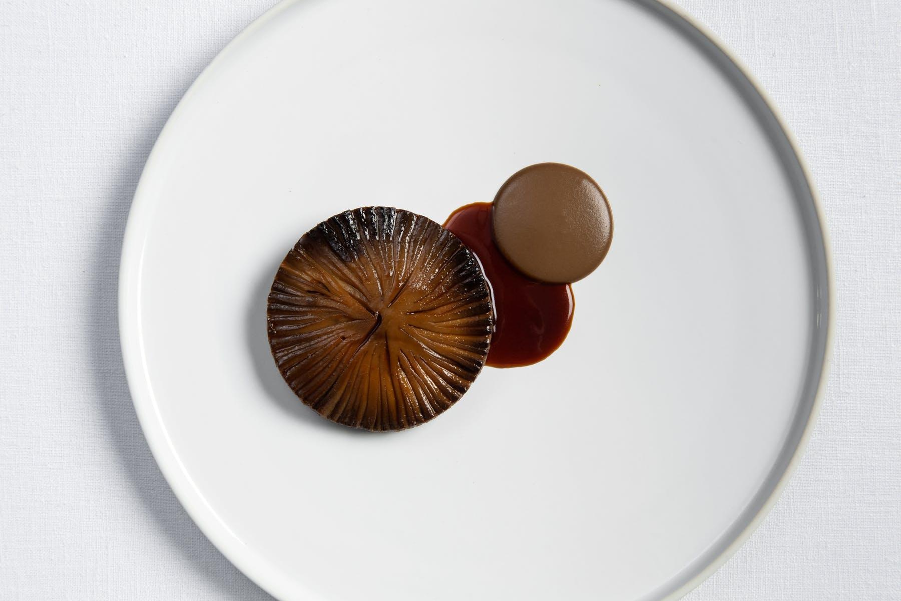 portabella mushroom, leek and shiso