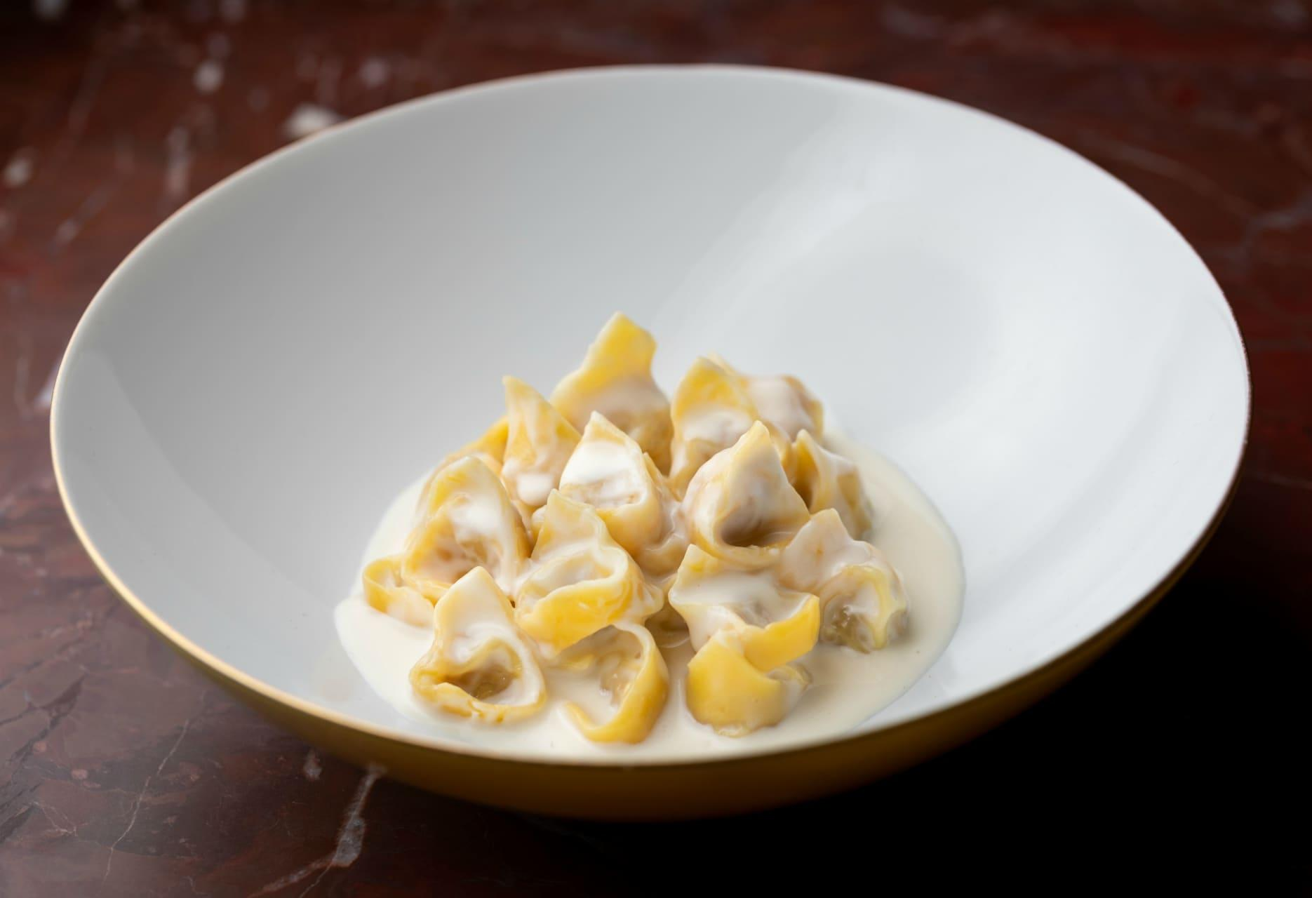Tortellini with Parmigiano Reggiano creamby Massimo Bottura