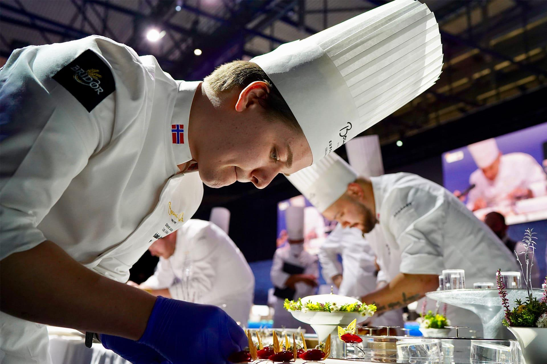 Chefs cooking during the Bocuse d'Or 2020 Europe
