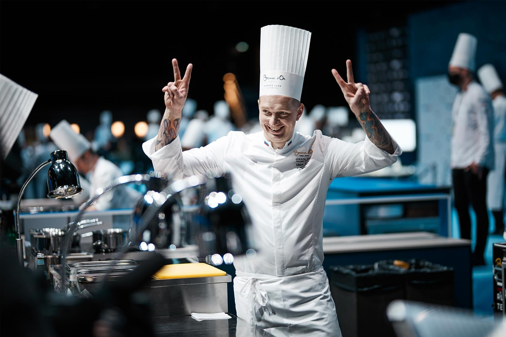 One of the chefs during the Bocuse d'Or 2020 Europe