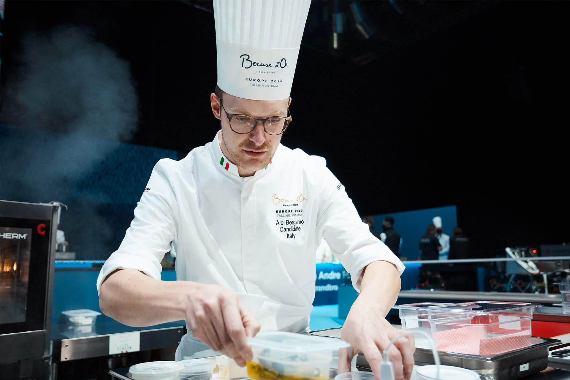 Alessandro Bergamo from Italy during the Bocuse d'Or 2020 Europe