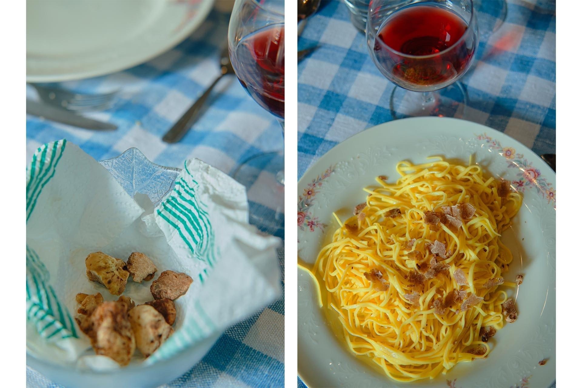 Close up on a cup containing few truffles and a dish of pasta with some truffle on top
