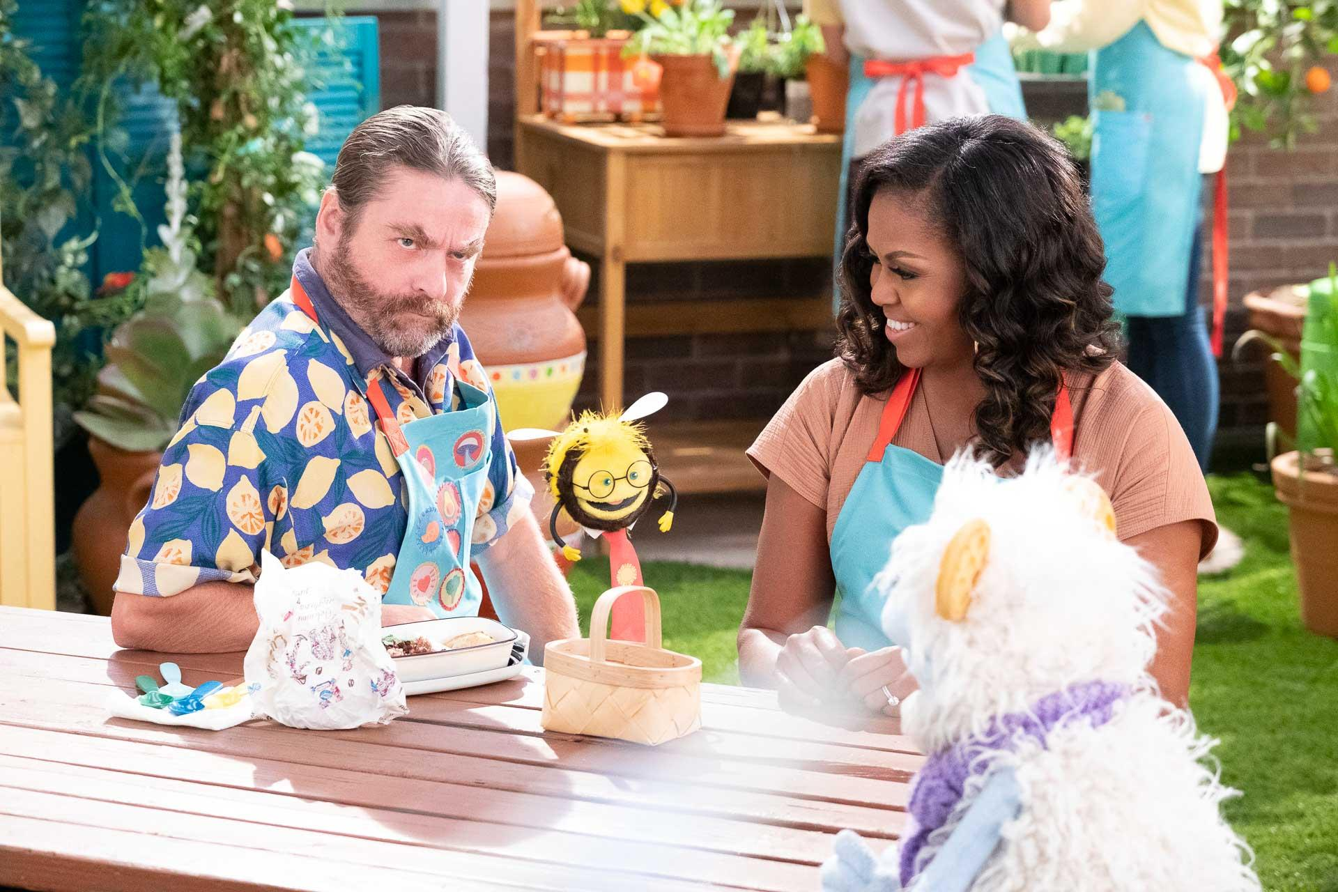 ZACH GALIFIANAKIS as GUS, BUSY, MICHELLE OBAMA, and WAFFLES