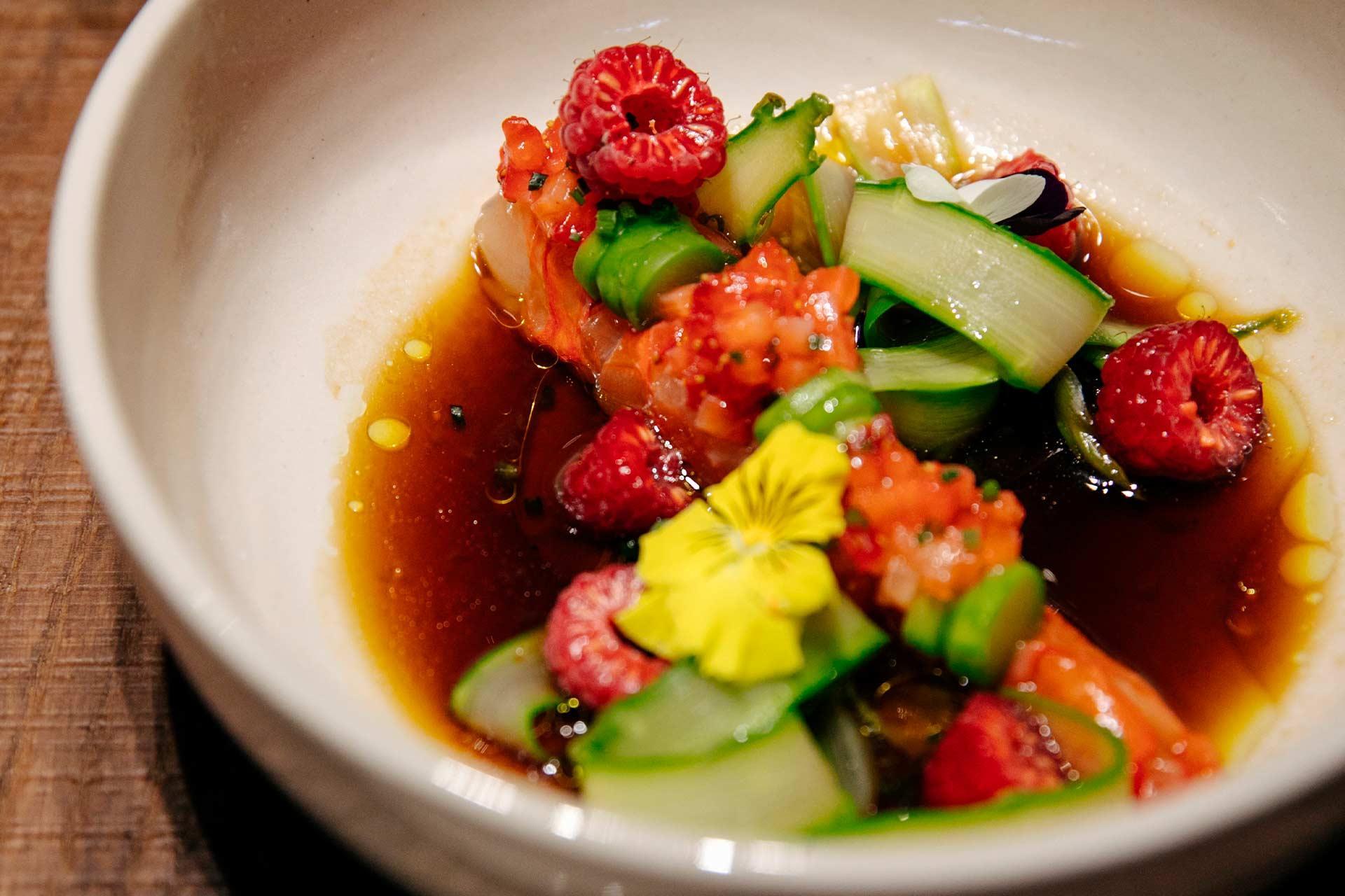 Pickled shrimp carabineros,asparagus, ponzu raspberry sauce, strawberry