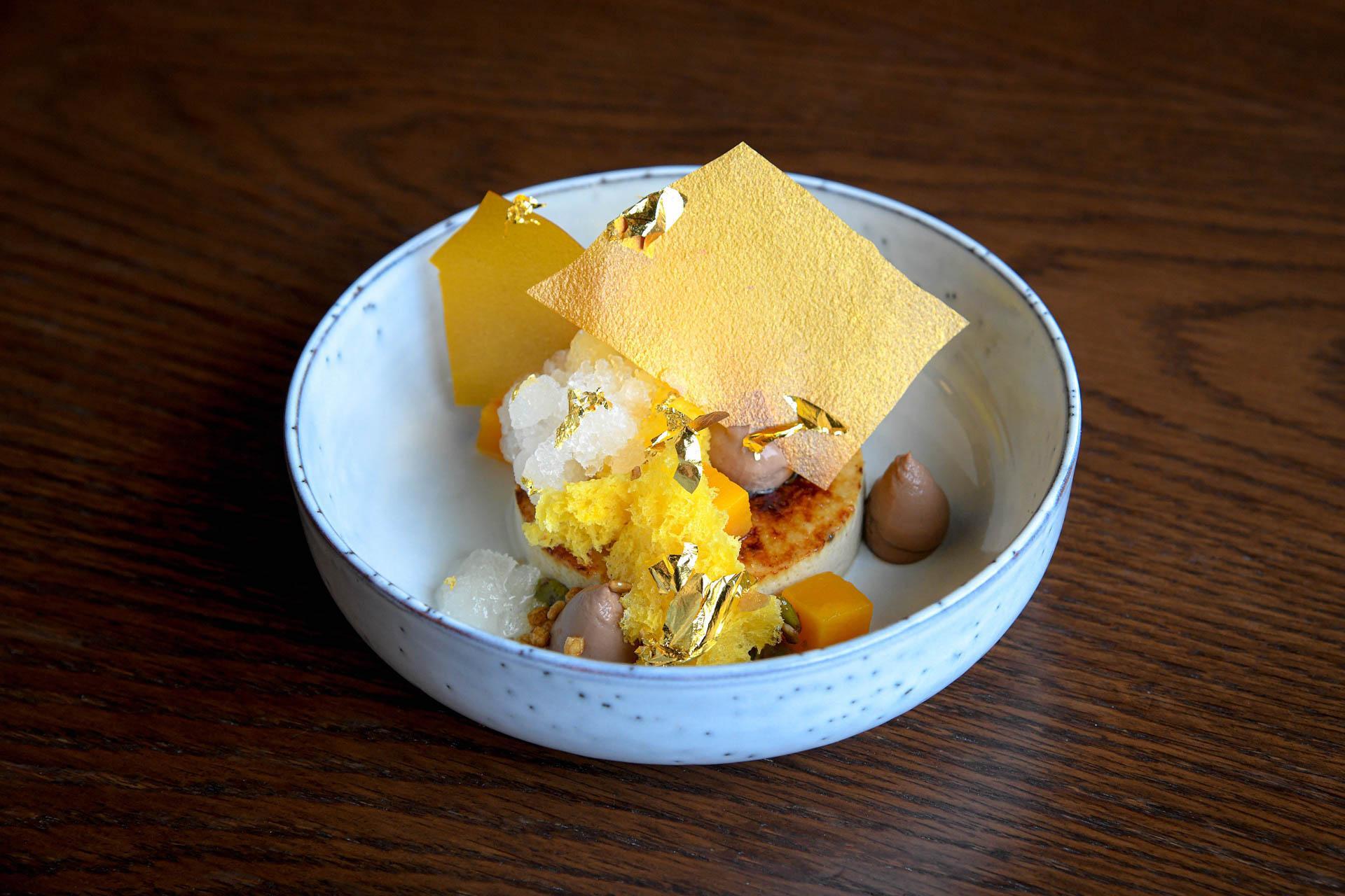 Golden dessert - genmaicha creme