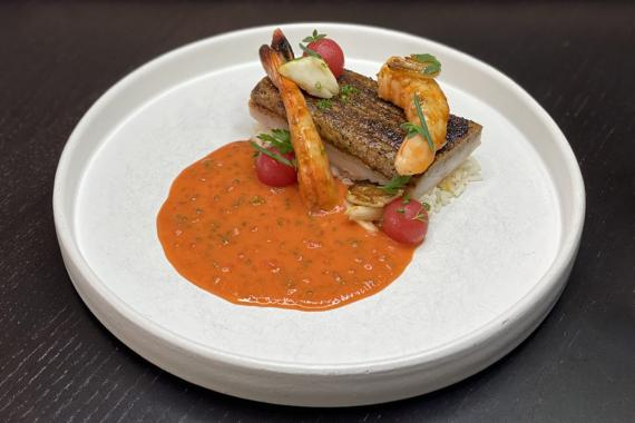 Blackened Speckled Trout, Shellfish Sauce Piquant, Crab Fat Popcorn Rice