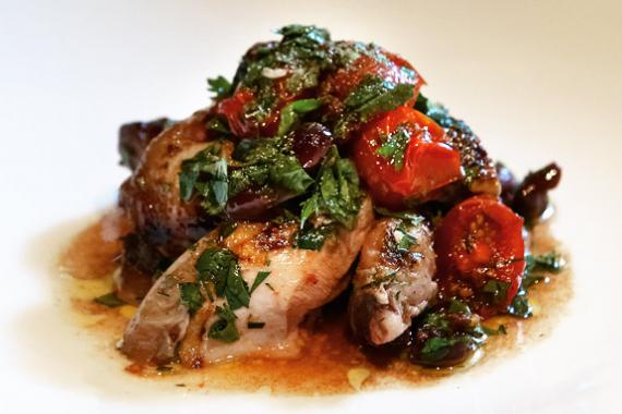 Warm Salad Of Wood Fire Grilled Quail With Semi Dried Cherry Tomato