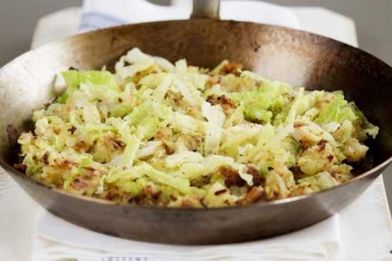 Bubble and squeak (fried mashed potato and cabbage)