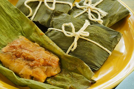 Puerto Rican Pasteles Stuffed Plantain Leaves